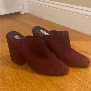 Suede chunky heels